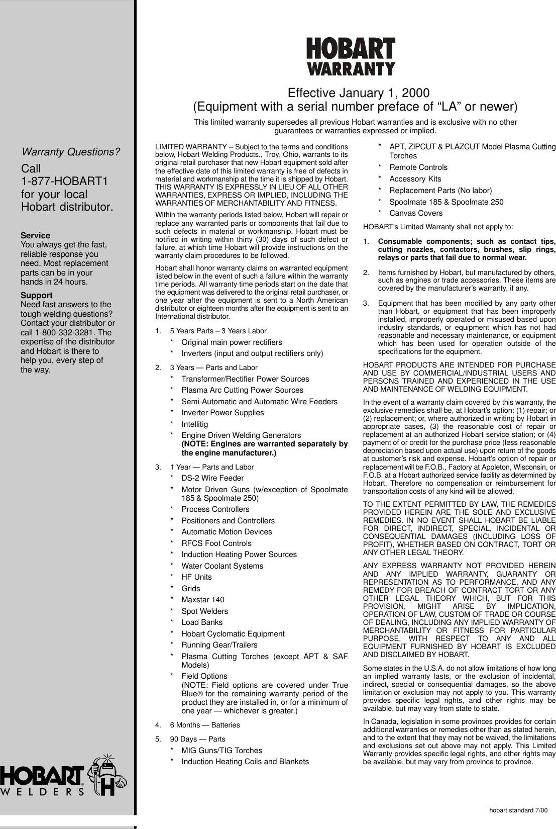 Hobart Handler 120 Owners Manual ManualsLib Makes It Easy To