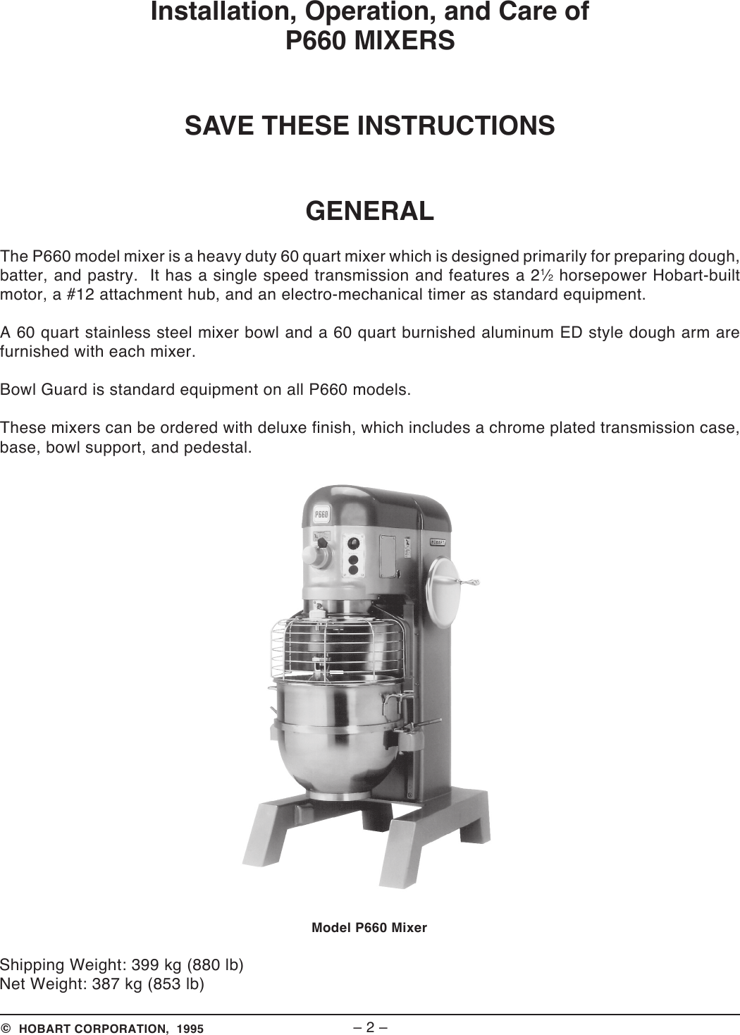 Page 2 of 12 - Hobart Hobart-P660-Users-Manual- Hobart-