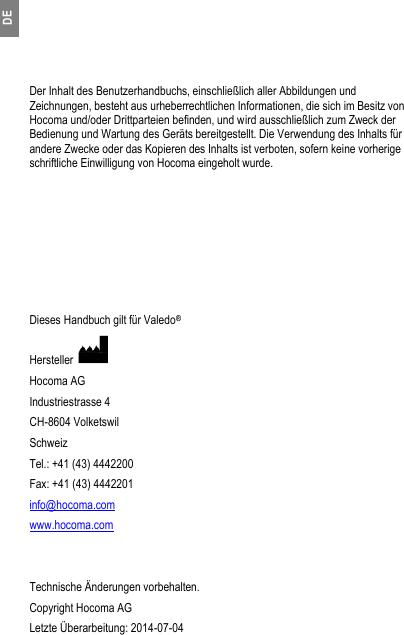 Hocoma 30814 Bodysensor User Manual