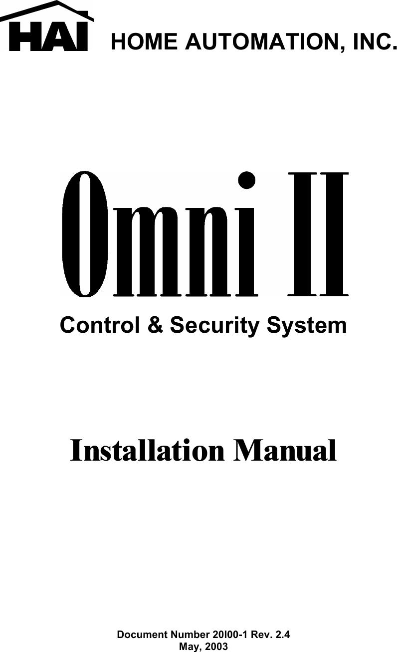 Home Automation Hai Inc Security System 20A00 1 Users Manual 20I00 ...