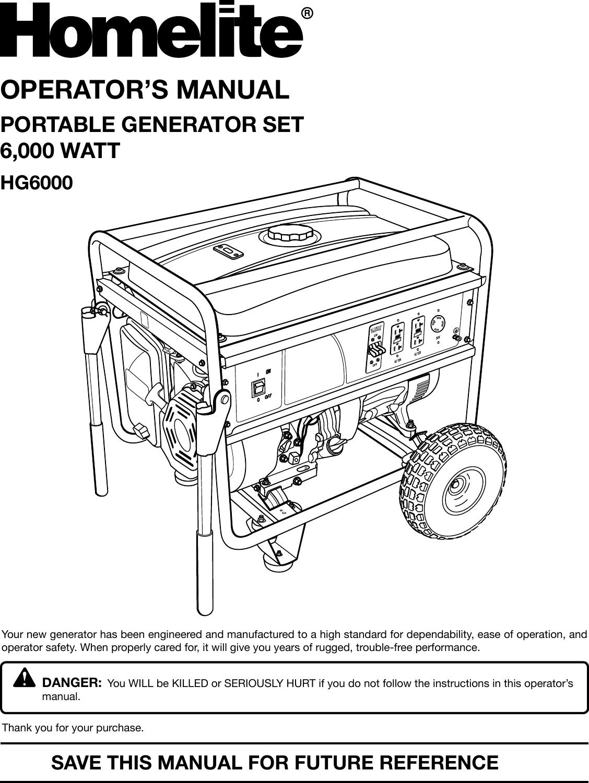 Homelite Hg6000 Users Manual Company Name Generator Wiring Diagram
