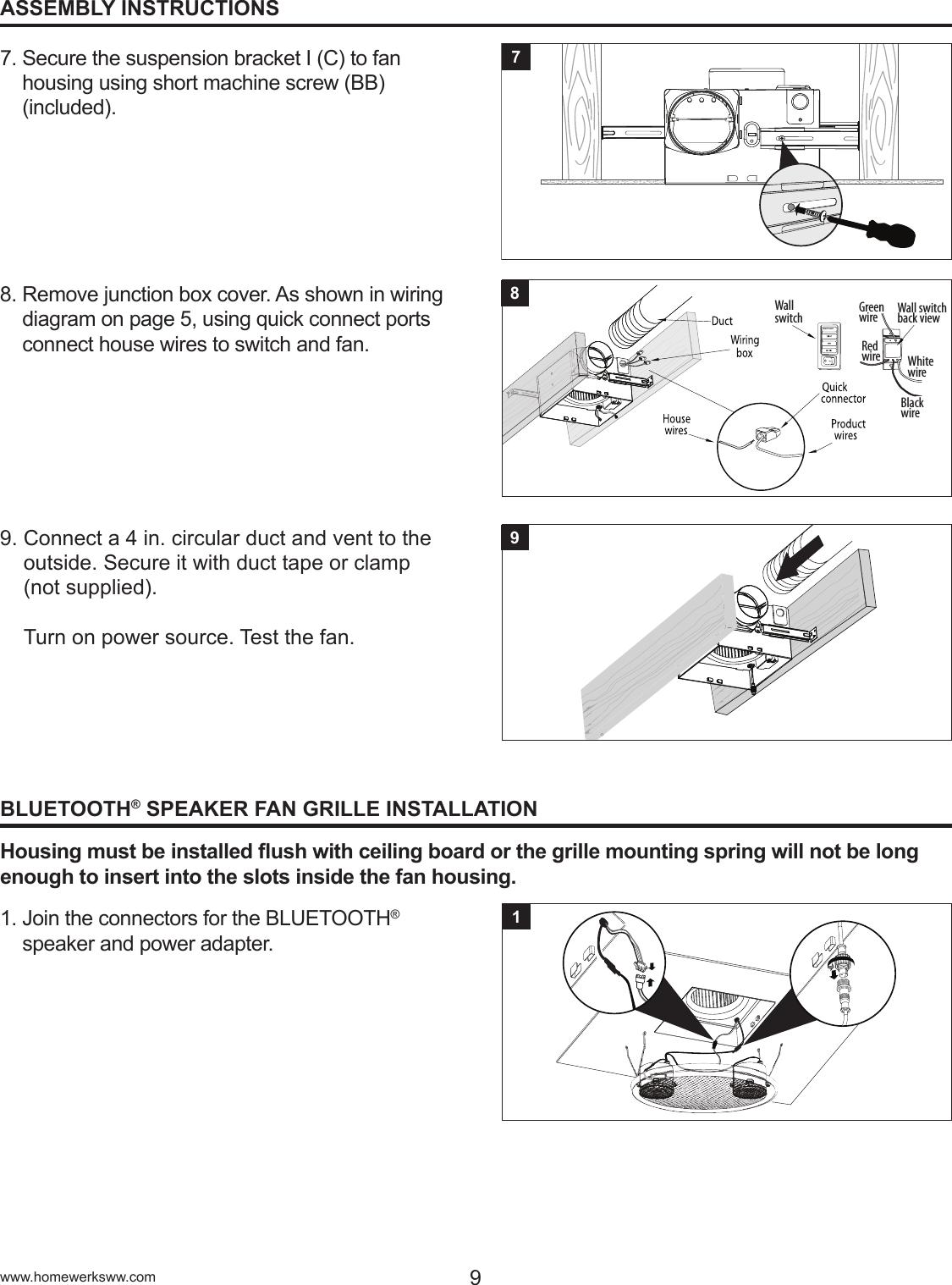 Homenetwerks Bluetooth Bath Fan U0026 Light Wiring Manual Guide