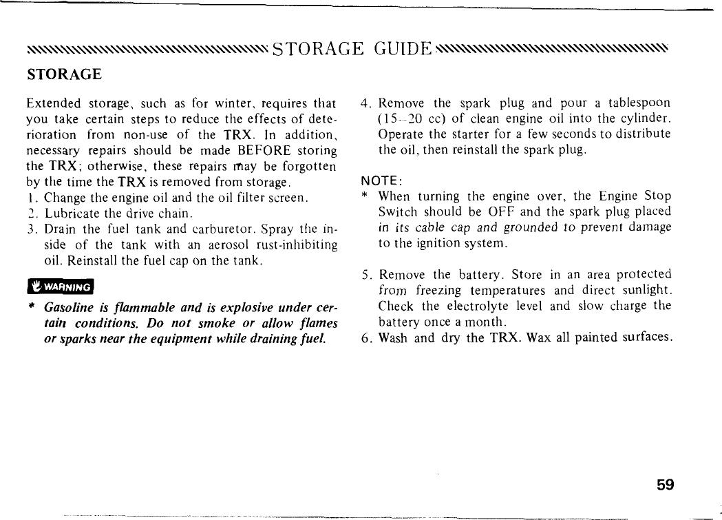 Honda 1985 Trx125 Owners Manual