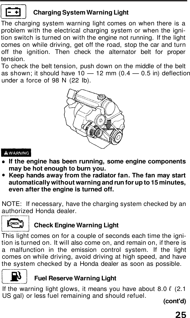 Honda 1991 Accord Coupe Owners Manual