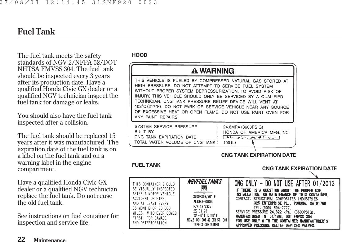 Honda 2008 Civic Gx Users Manual