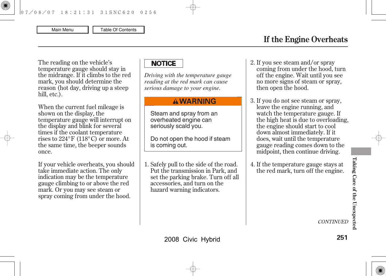 Honda 2008 Civic Hybrid Owners Manual