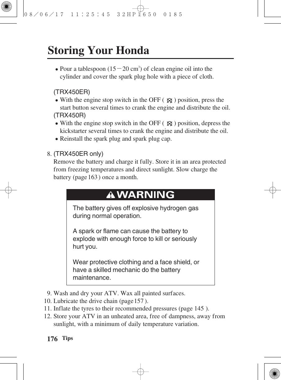 Honda 2009 Trx450R Er 32Hp1650 Owners Manual