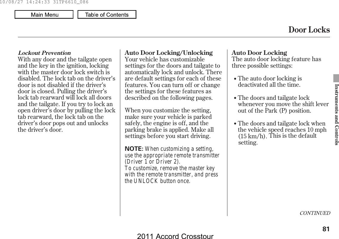 Honda 2011 Accord Crosstour Owners Manual