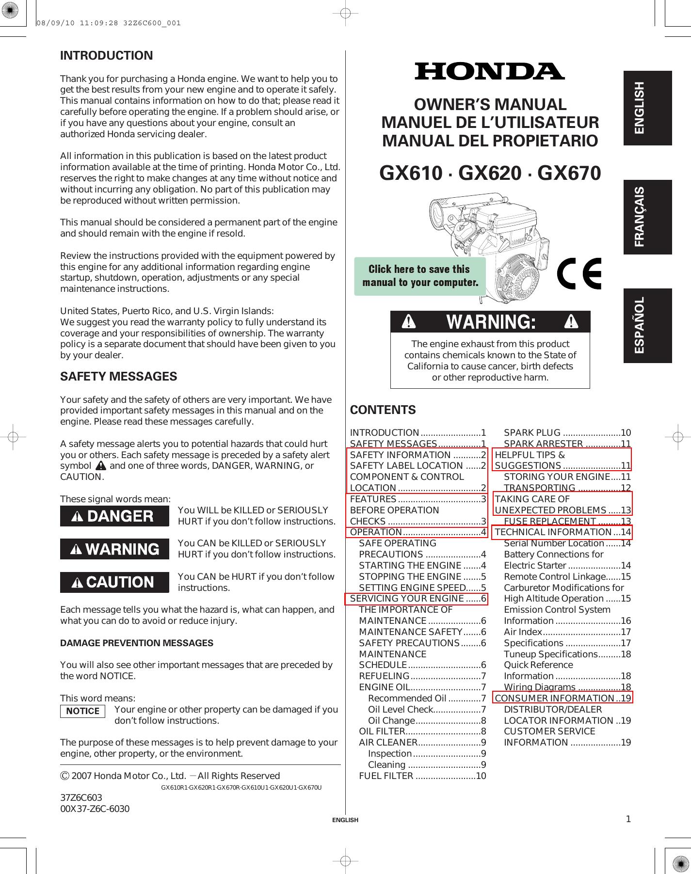 Honda Gx670 Owners Manual Wiring Diagram