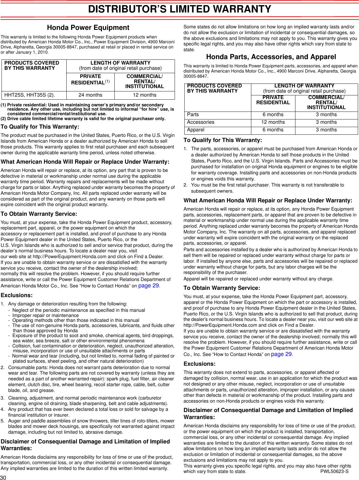 Honda Hht25S Hafa 1000001 Through 9999999 Owners Manual