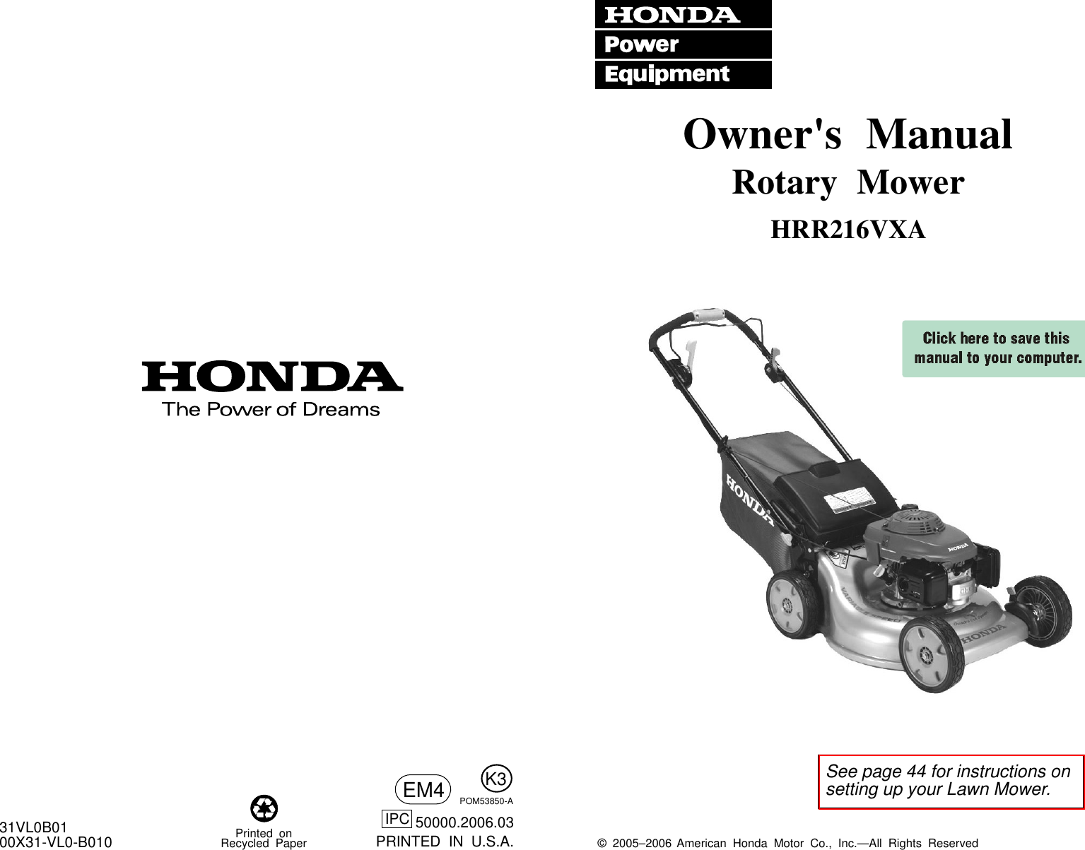 Honda Hrr216Vxa Mzcg 7200001 Through 7399999 Owners Manual