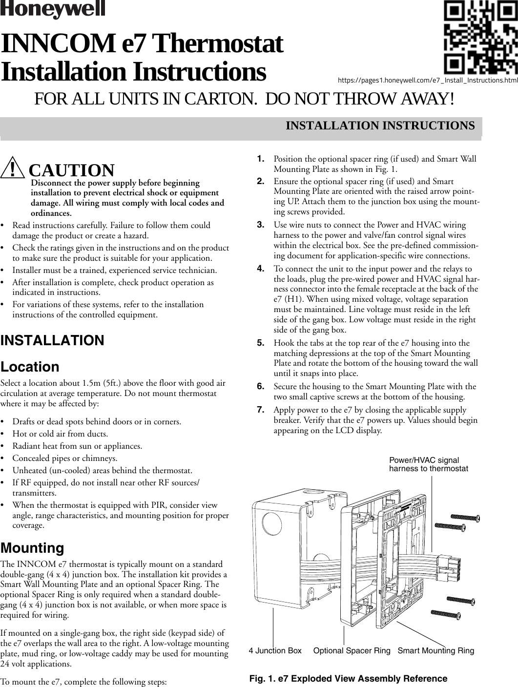 Honeywell 201528100 E7 Thermostat User Manual 31 00093 03