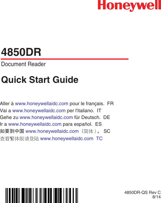 Honeywell 4850DR Xenon 1900 Quick Start Guide User Manual To