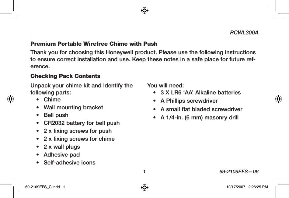 Honeywell 51360sl Premium Portable Wireless Chime User Manual 69