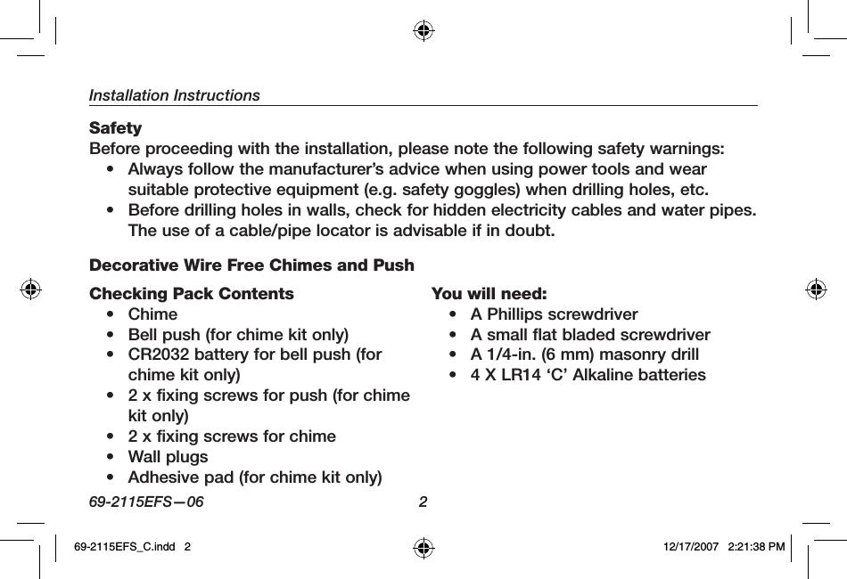 Honeywell 51365SL Decor Mix and Match Wireless Chime Base User