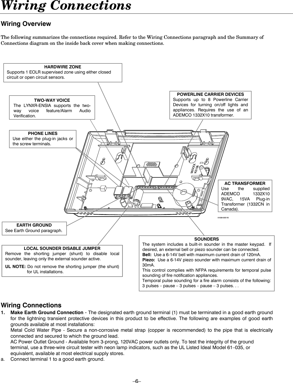 Honeywell 8dllynxren5 Alarm Keypad User Manual Prek5963 2. 6 Wiring Connections Overview The Following Summarizes Required Refer To. Wiring. Honeywell Wiring Diagrams Two Way Voice At Scoala.co
