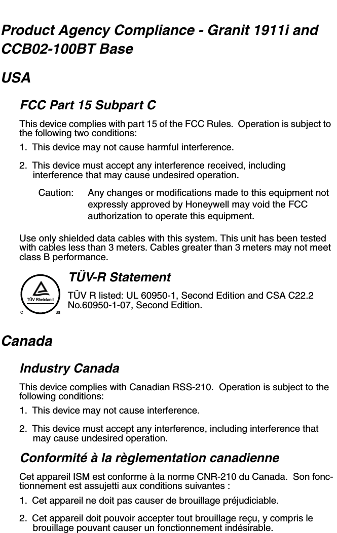 Honeywell CCB02A CHARGE AND COMMUNICATION BASE User Manual