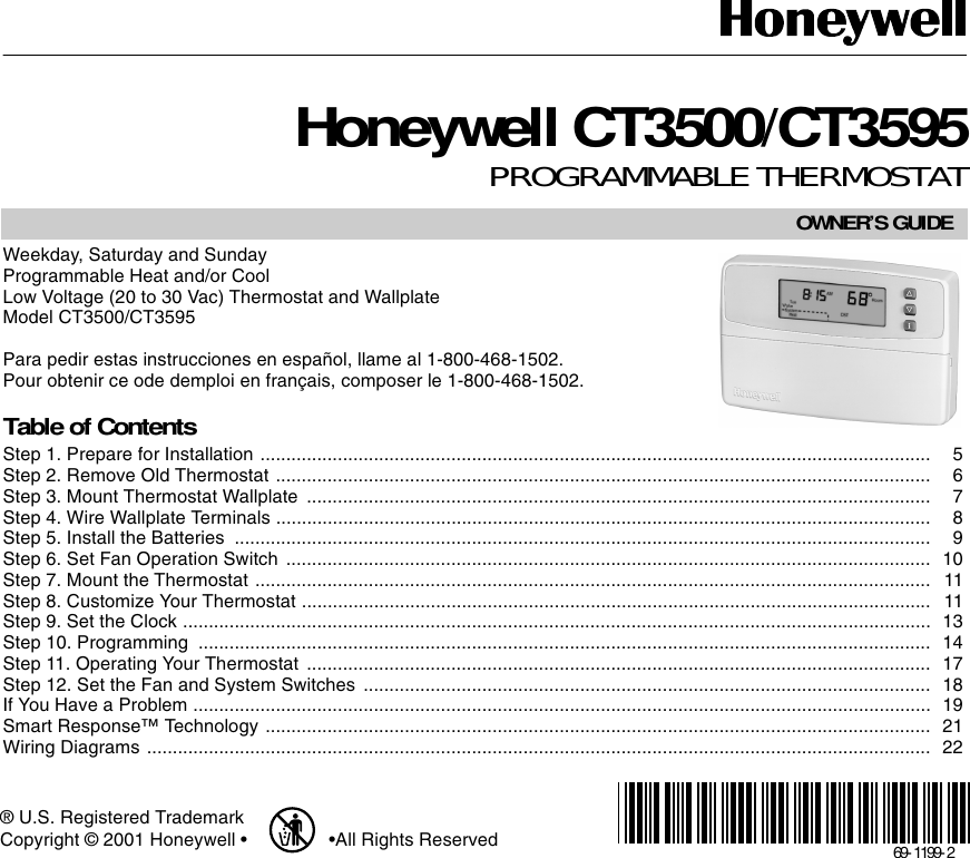 Honeywell CT3500CT3595 69 1199 CT3500/CT3595 PROGRAMMABLE THERMOSTAT on