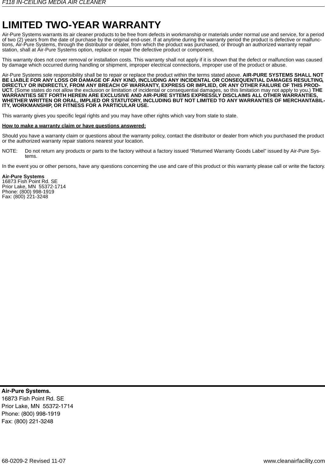 Honeywell F118 68 0209 2 Product Data User Manual To The 84eba213 ...