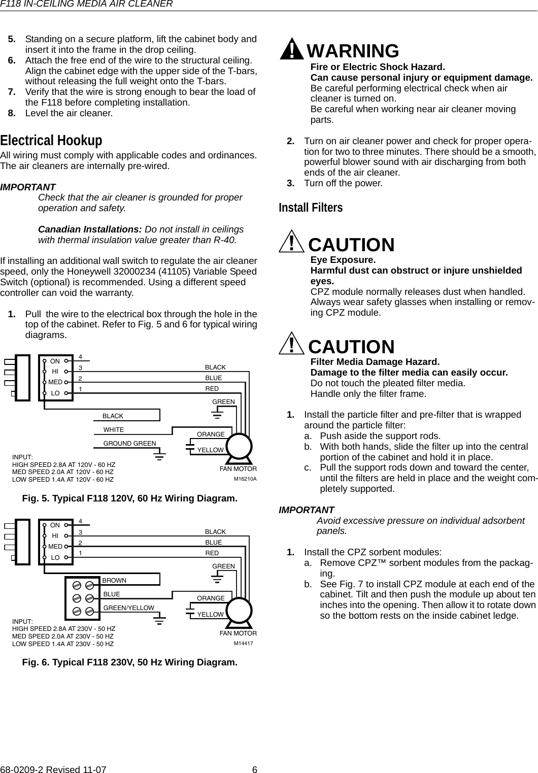 Honeywell F118 68 0209 2 Product Data User Manual To The 84eba213 B Cabinet Wiring Diagrams Page 6 Of 12