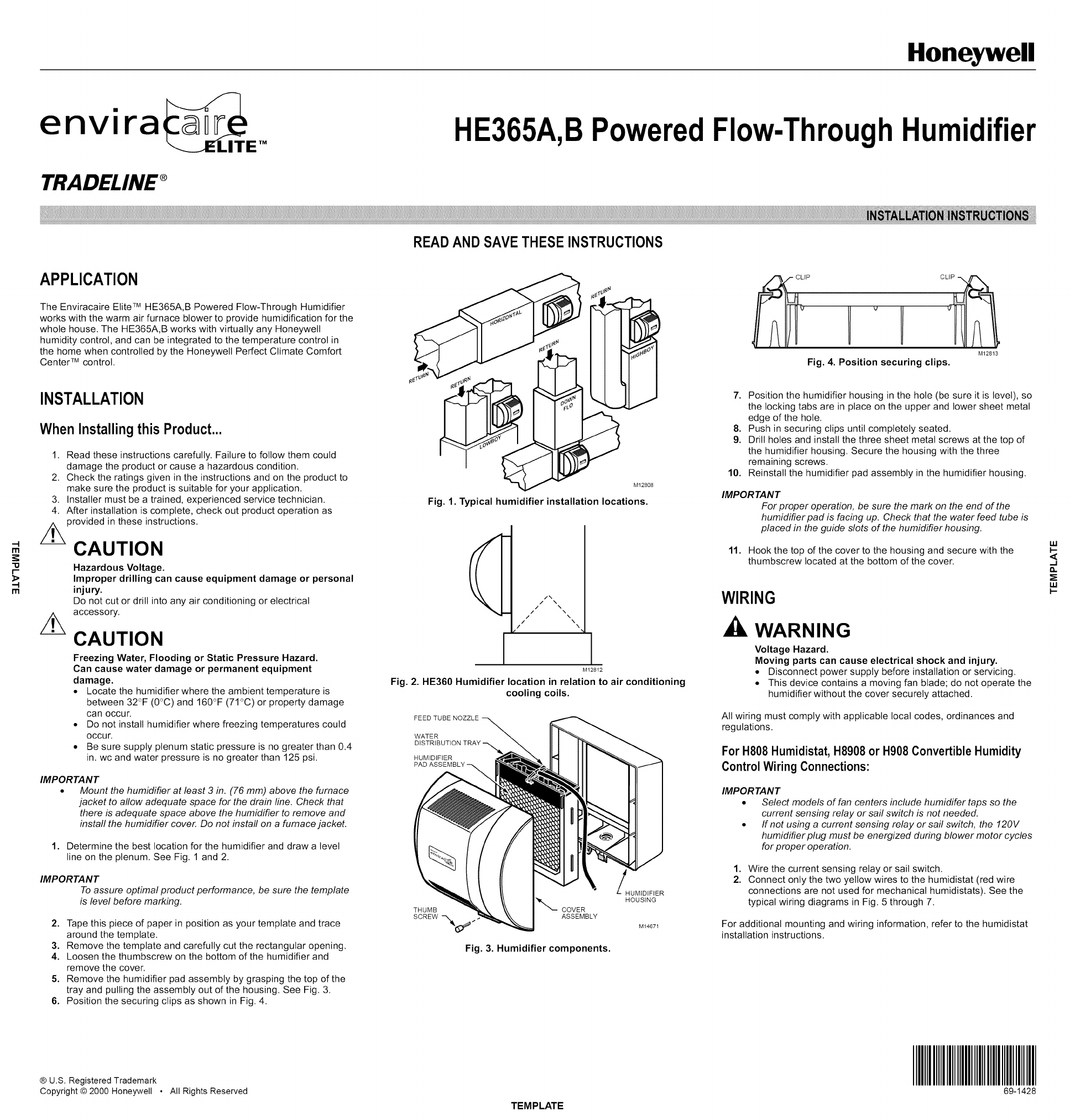 Honeywell He365b User Manual Humidifier Manuals And Guides L1002583 Red Jacket Wiring Diagram Owners Installation