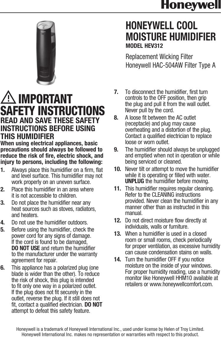 Honeywell HEV 312 User Manual To The 13de116f 5d03 40b3 8ec7 ...