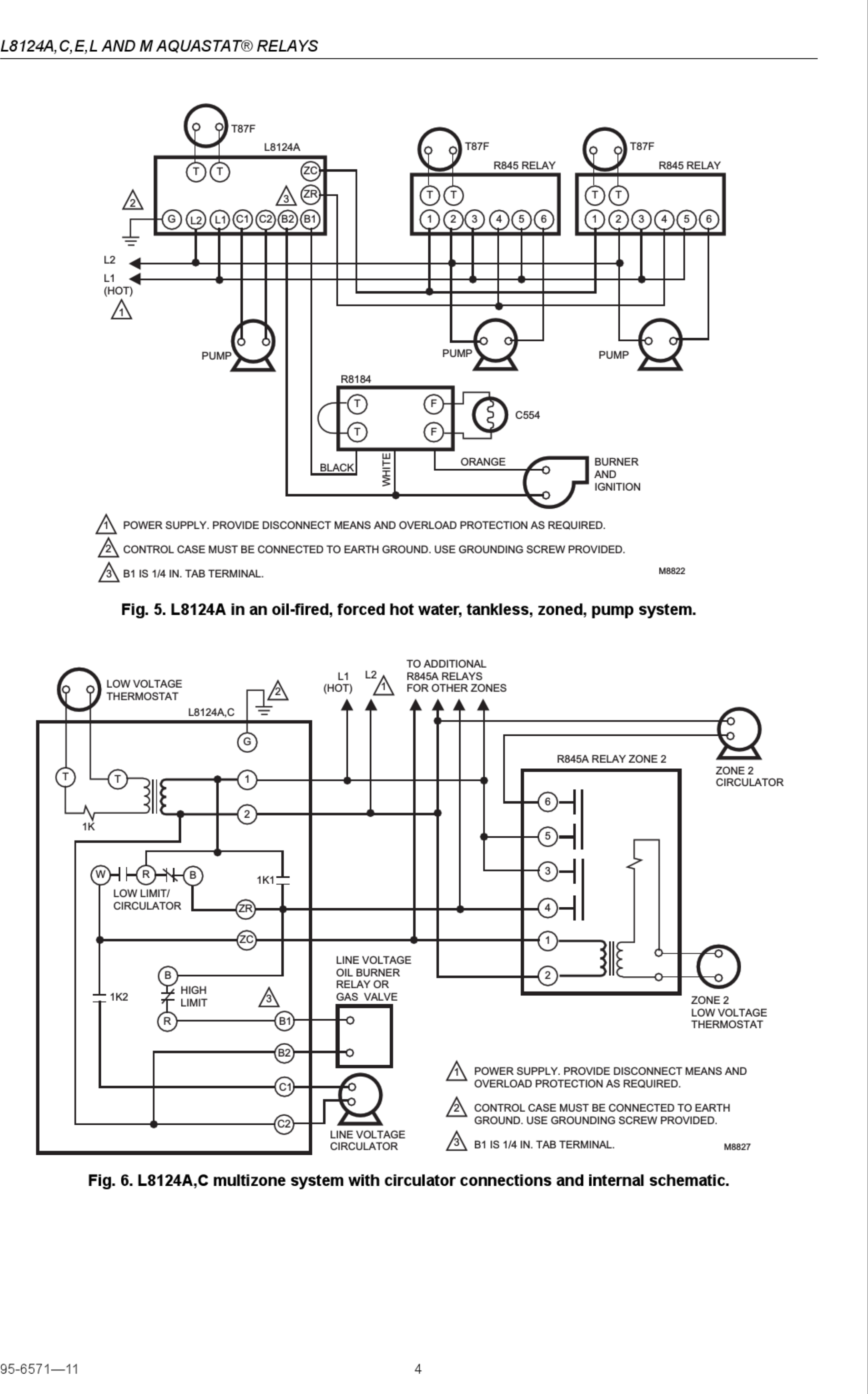 Honeywell Aquastat L8124a Installation Instructions Manual