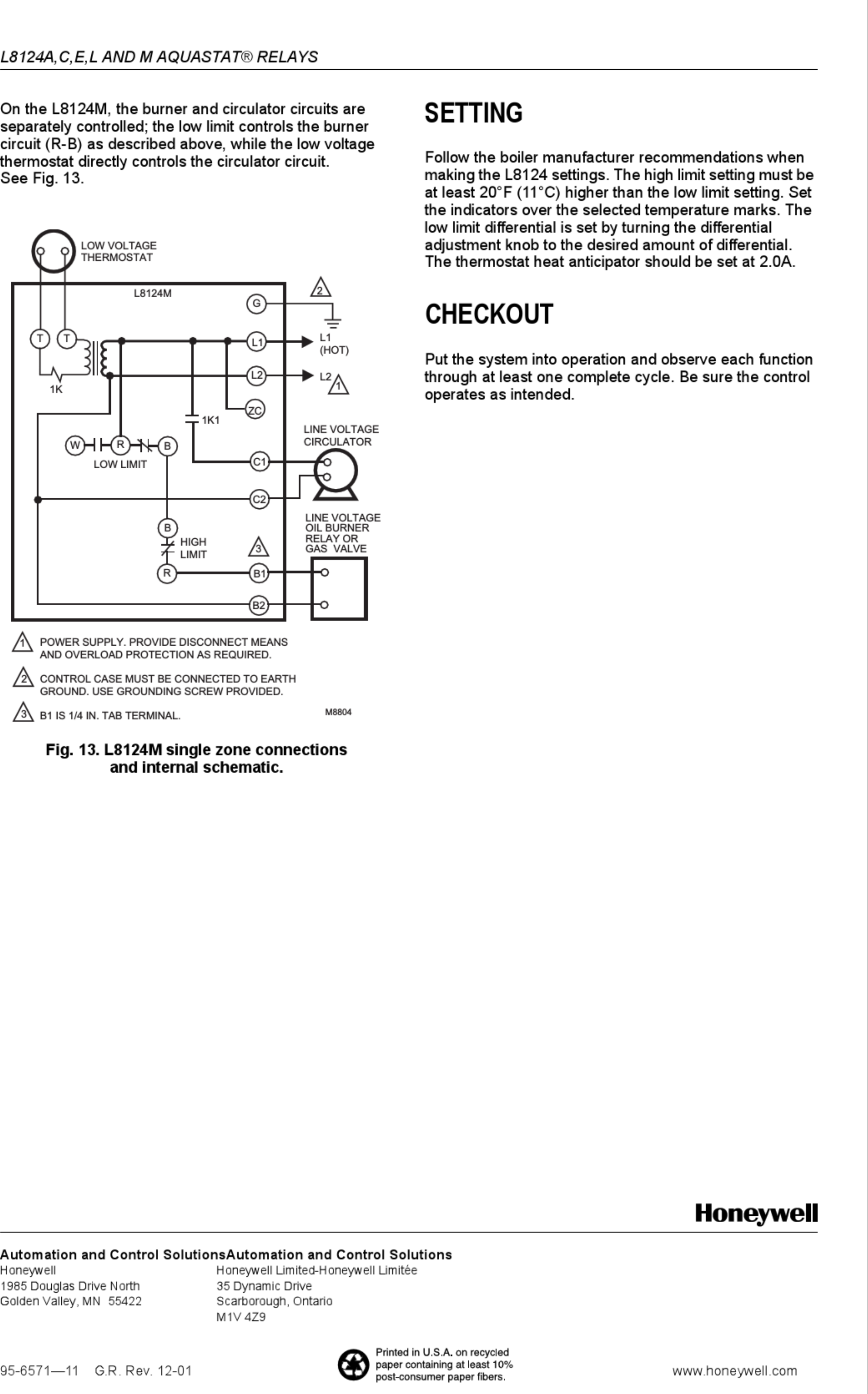 Page 8 of 8 - Honeywell Honeywell-Aquastat-L8124A-Installation-Instructions-Manual-1003208 User Manual