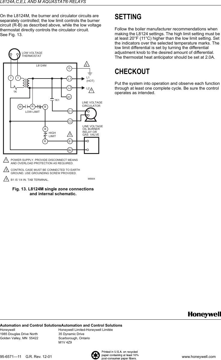 Honeywell Aquastat L8124a Instruction Manual 95 6571 L8124acel Wiring Diagram Page 8 Of