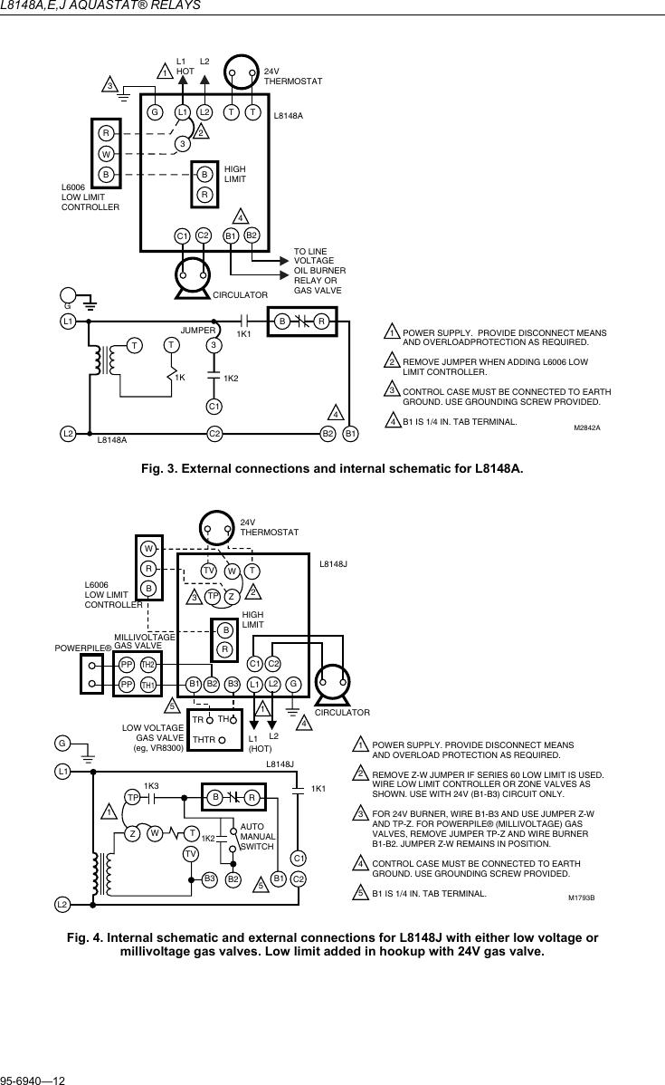 Honeywell Aquastat L8148A Instruction Manual 95 6940 L8148A ... on