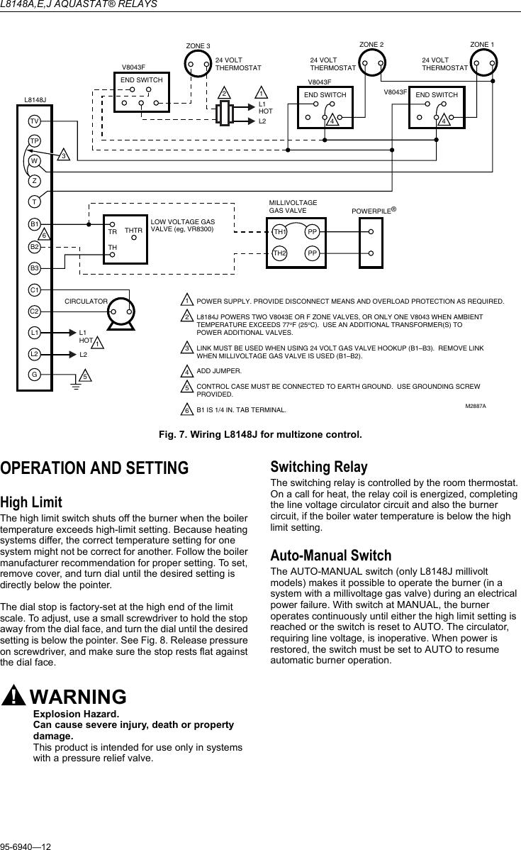 Honeywell Aquastat L8148a Instruction Manual 95 6940 L8148aej Relays V8043 Page 6 Of 8