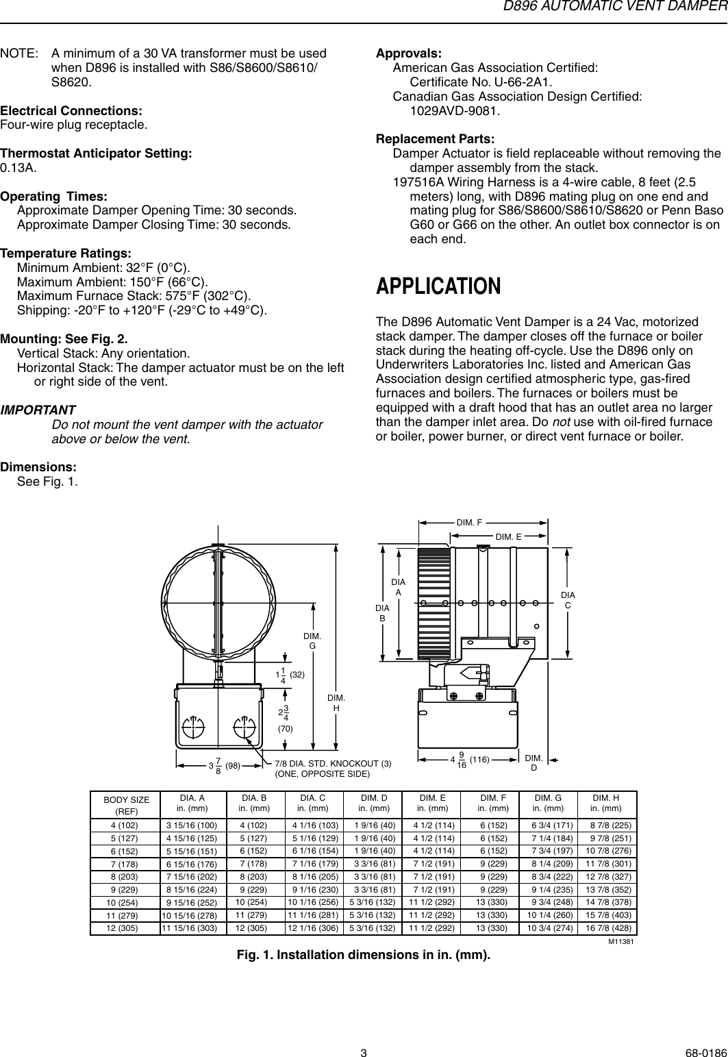 Honeywell Automatic Vent Damper D896 Users Manual 68 0186