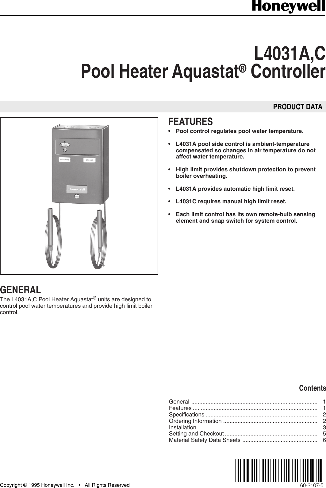 Honeywell C Users Manual 60 2107 L4031ac Pool Heater Aquastat Boiler Wiring Diagram Page 1 Of 12