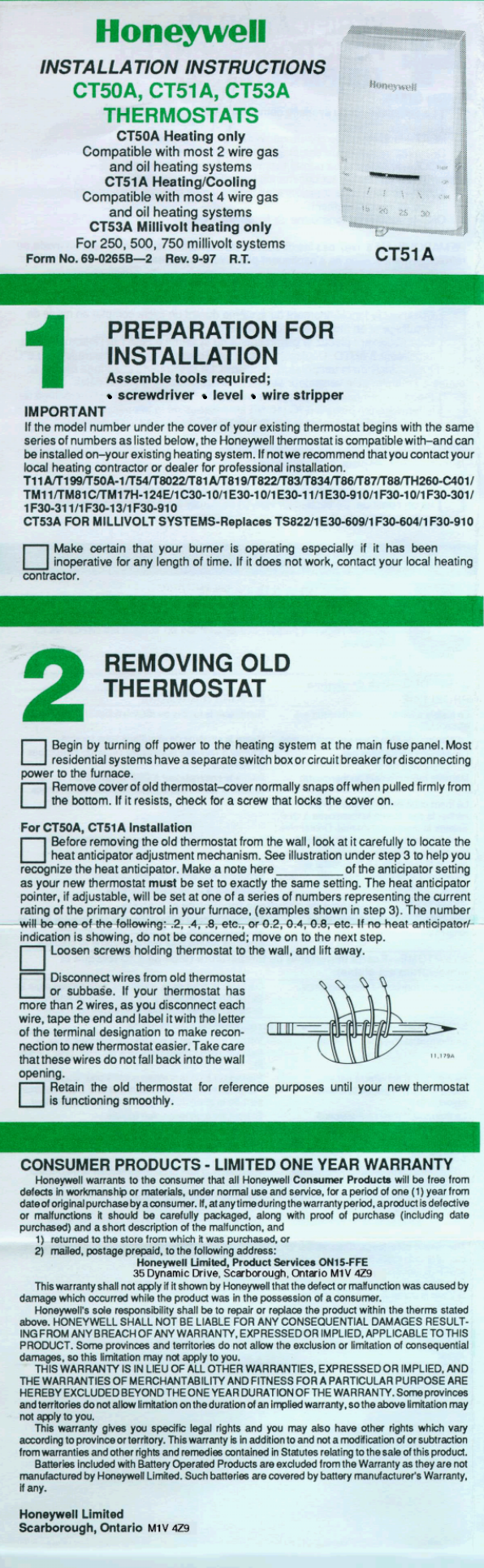 Honeywell Ct50a Installation Instructions 69 0265b Ct51a Snap Circuit 750 Ct53a Thermostats