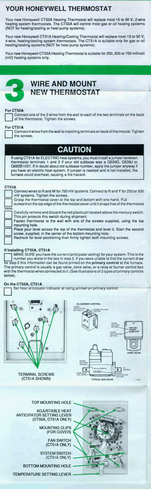 Honeywell Ct50a Installation Instructions 69 0265b Ct51a Thermostat Mercury Switch Page 2 Of 6