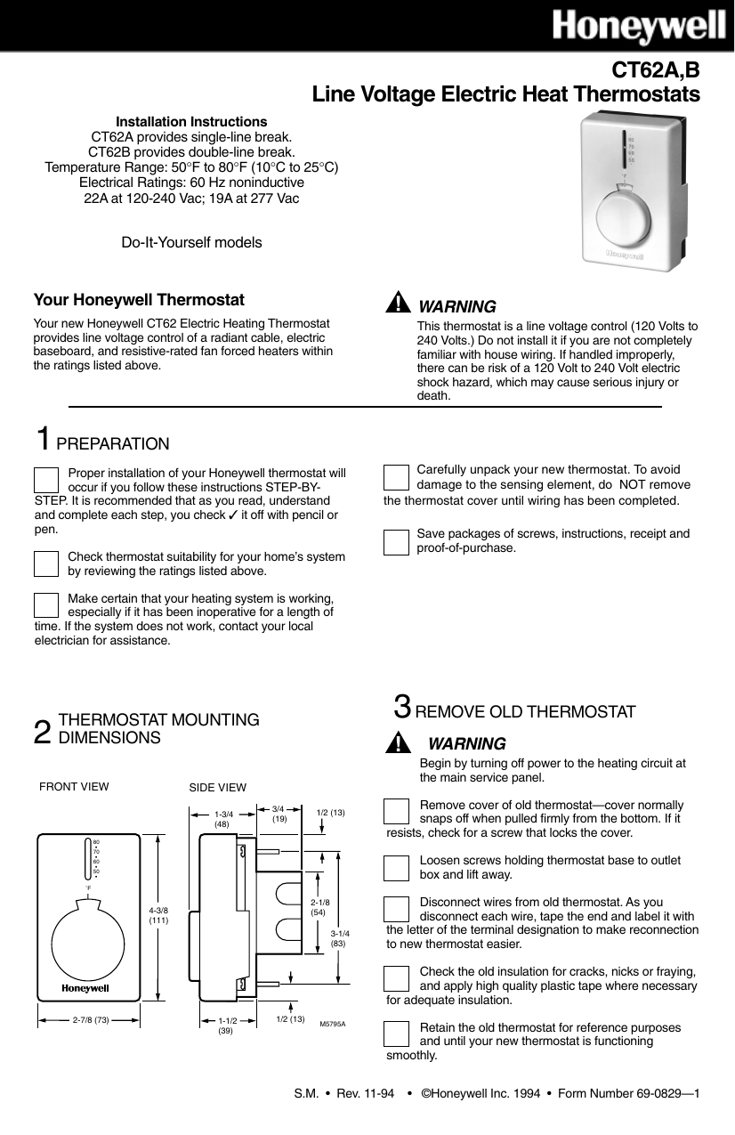 Honeywell Ct62a Users Manual 69 0829 Ct62ab Line Voltage Thermostats Removing Baseboard Heater Wiring