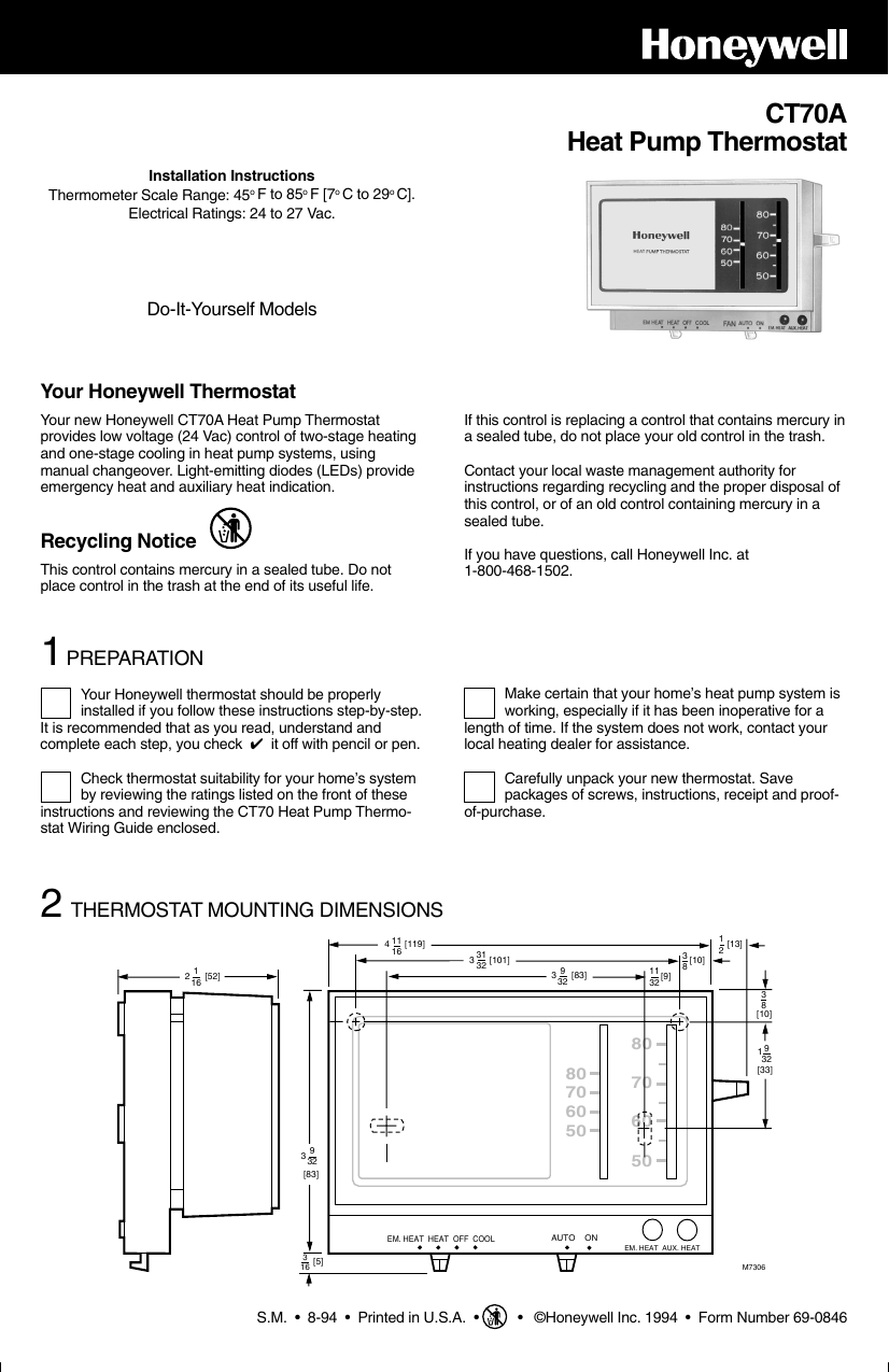 Honeywell Ct70a Users Manual 69 0846 Heat Pump Thermostat Instructions Wifi Setup Today Guide