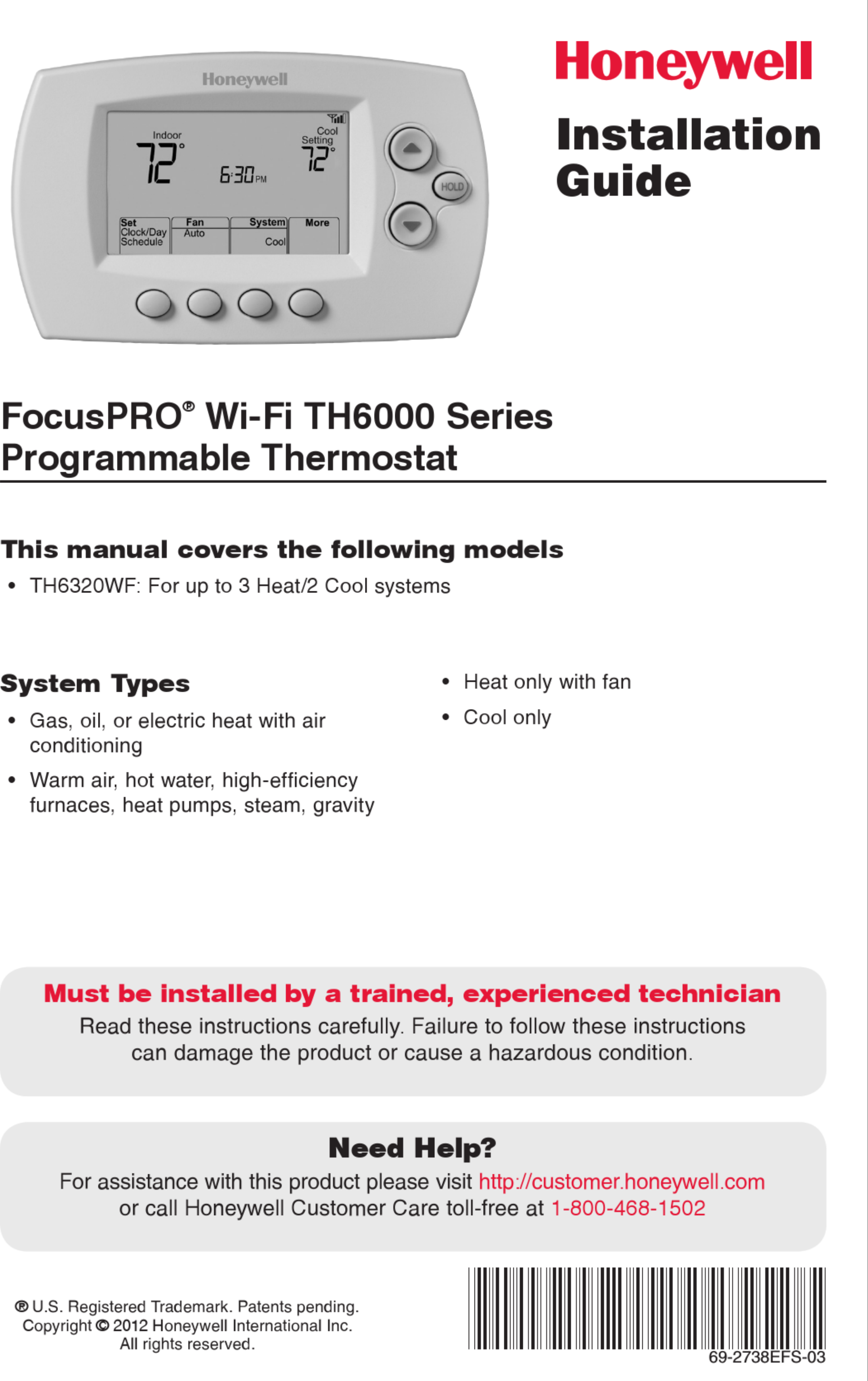 Honeywell Th6000 Wiring Diagram Electrical Diagrams Th8000 Focuspro Installation Manual User Guide 6000 Pdf
