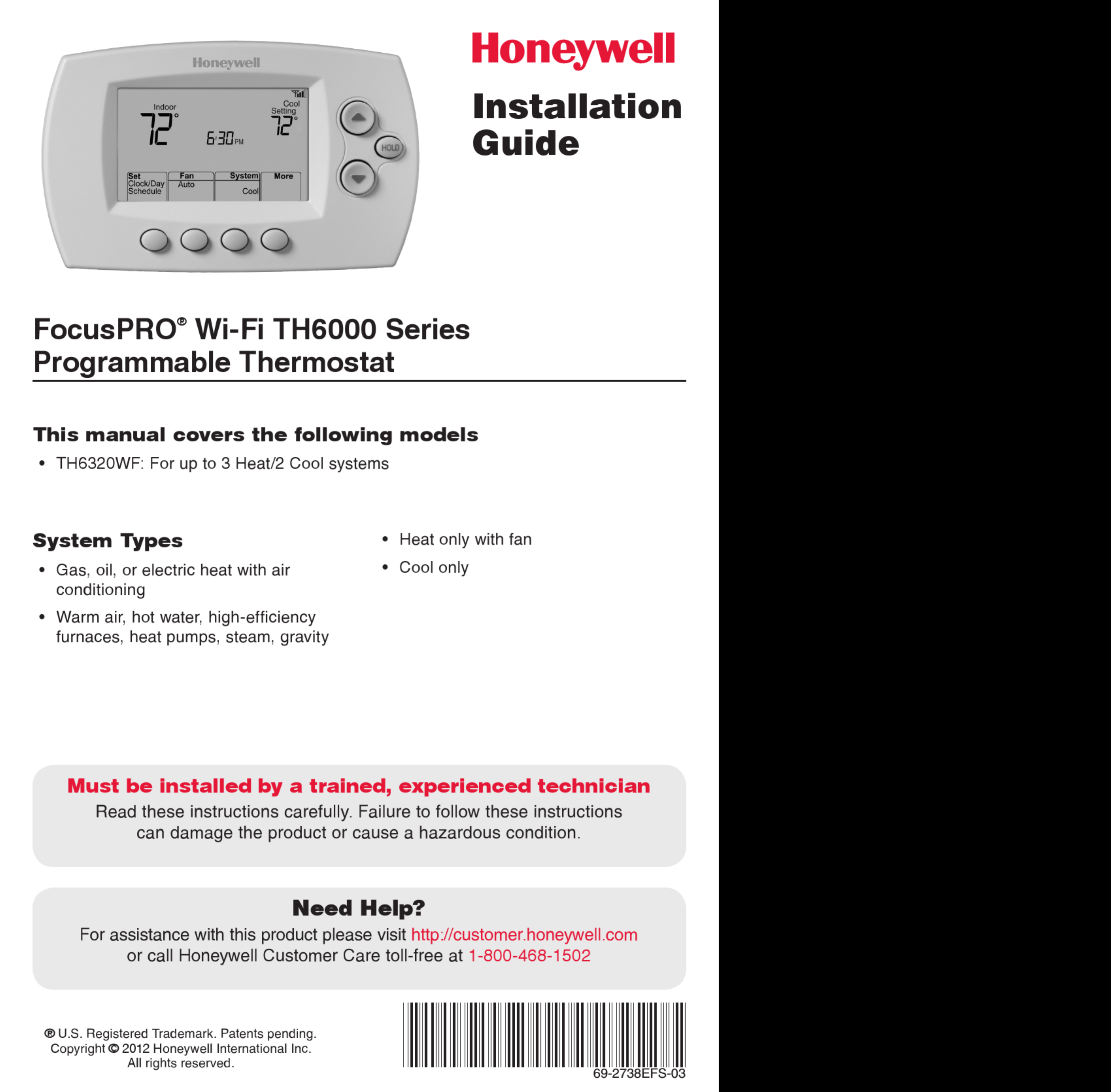 Honeywell Focuspro Th6000 Series Installation Manual 1002892 User Thermostat Wire Diagram