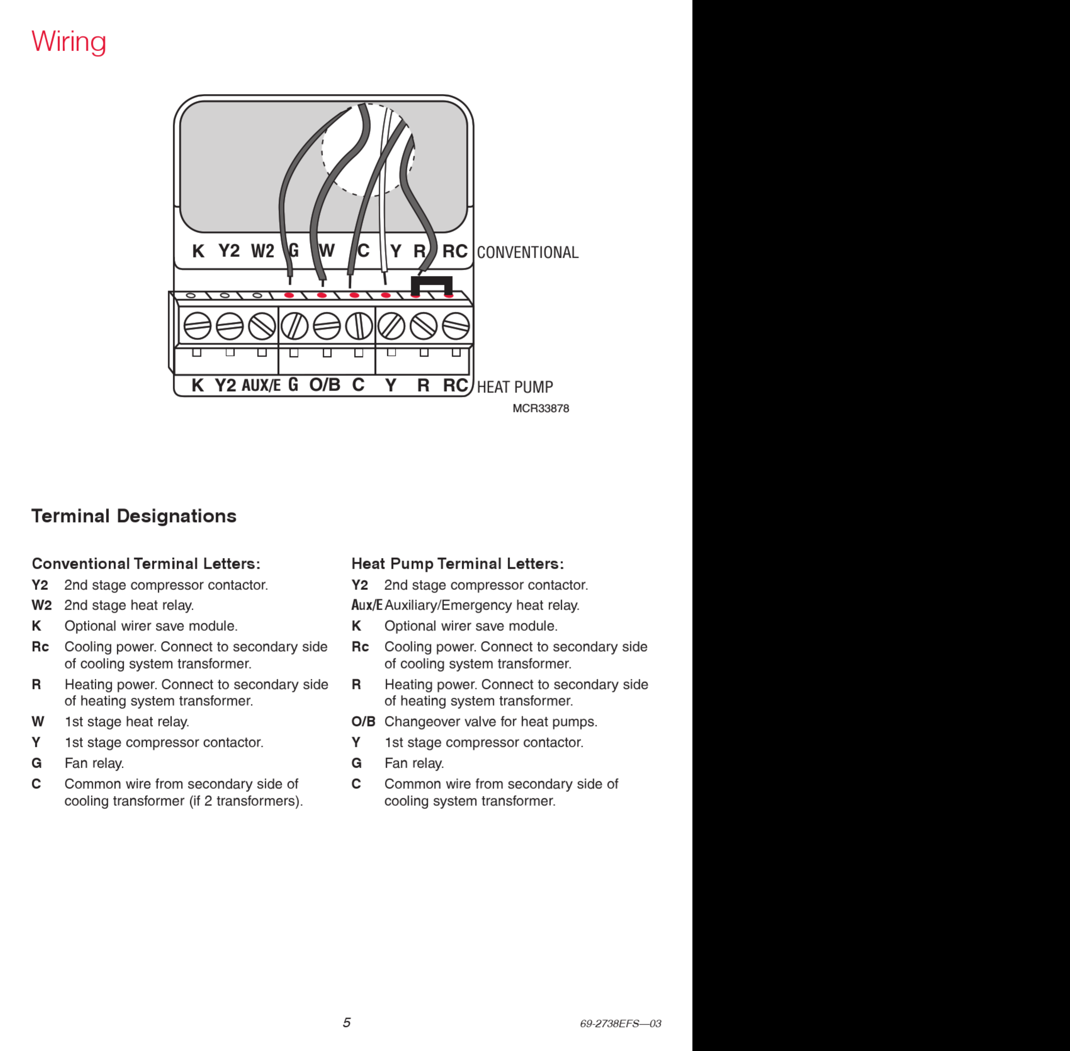 Honeywell Focuspro Th6000 Series Installation Manual 1002892 User Thermostat Wire Diagram 39236