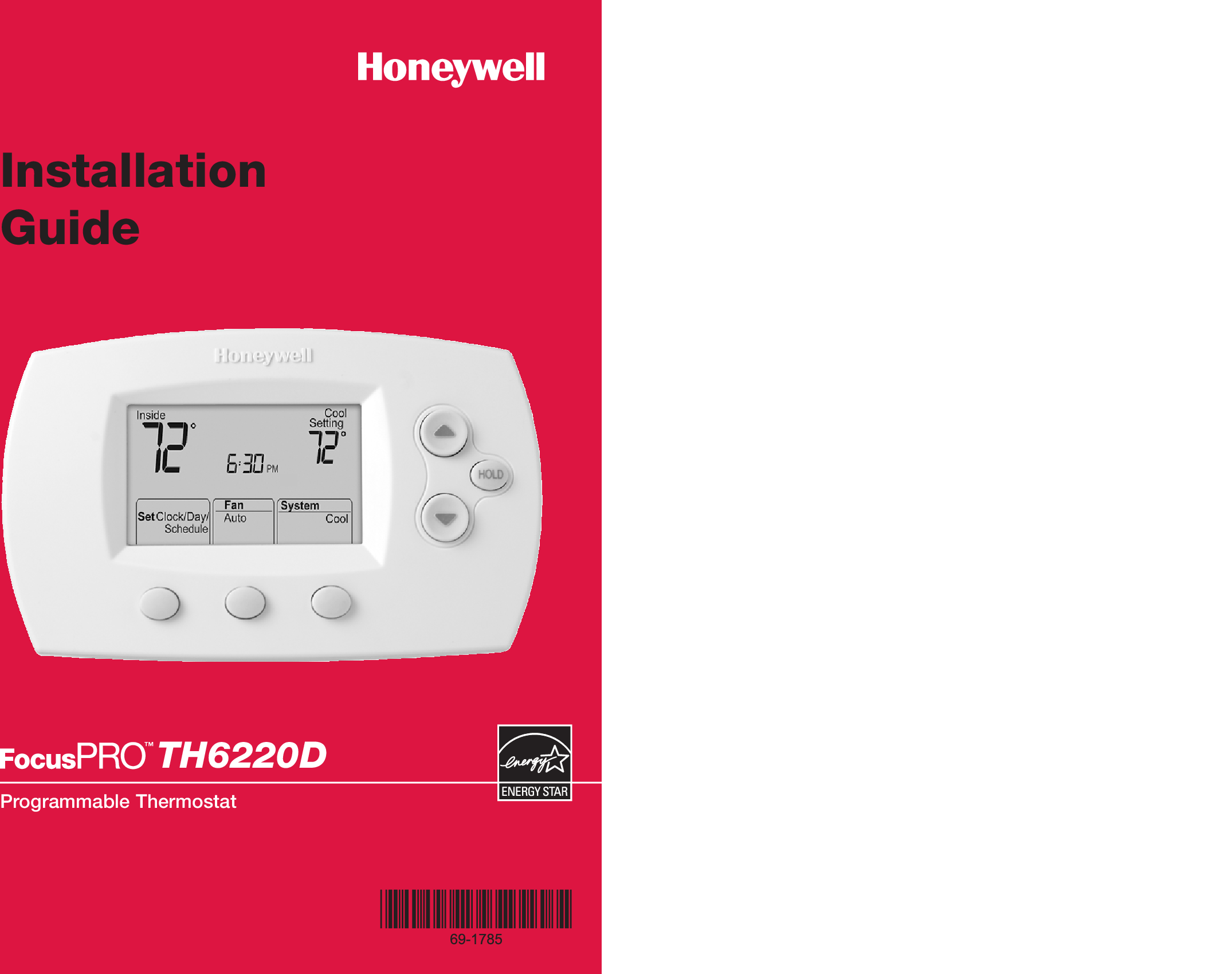 Honeywell Th6220d Wiring Diagram Trusted Diagrams Th8000 Focuspro Installation Manual 69 1785 Programmable Thermostat Th6220d1002