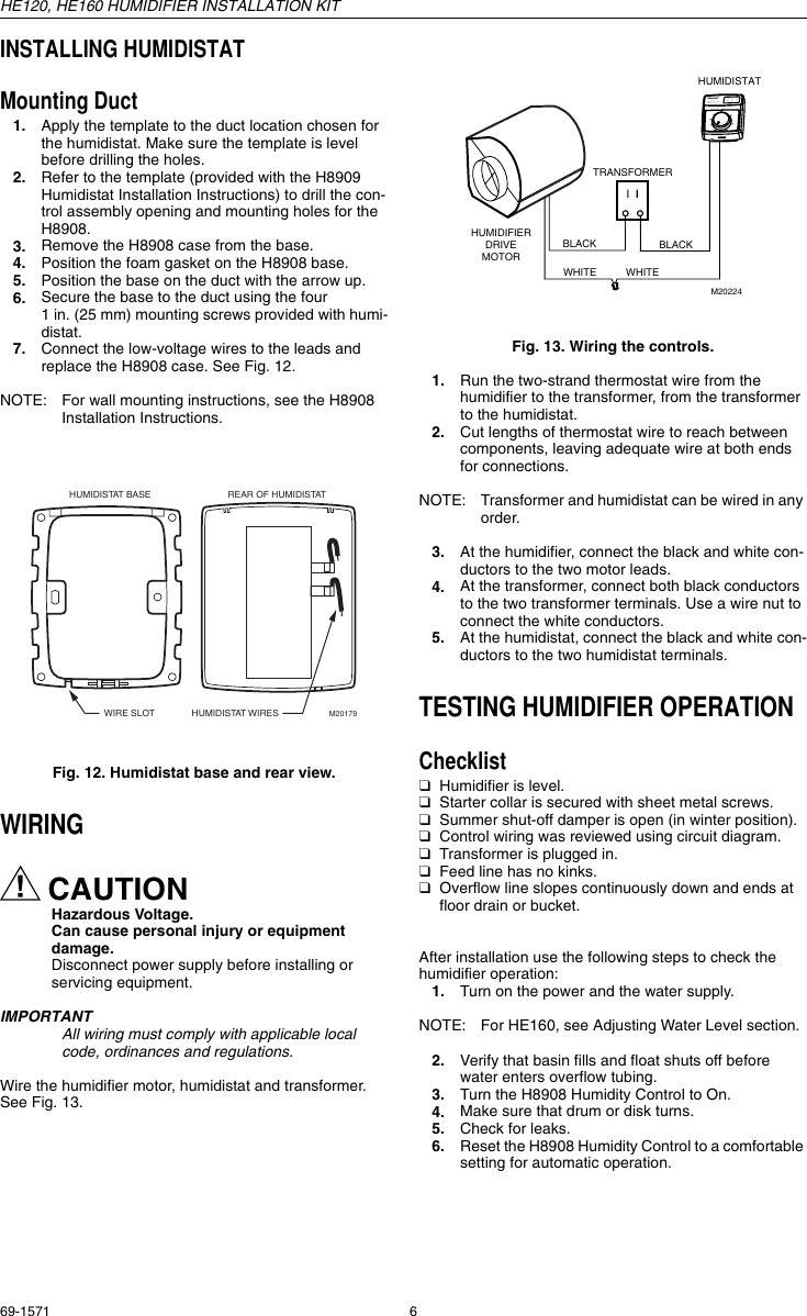 Honeywell Humidifier Wiring Diagram Automatic Explained Diagrams Truesteam He160 Users Manual