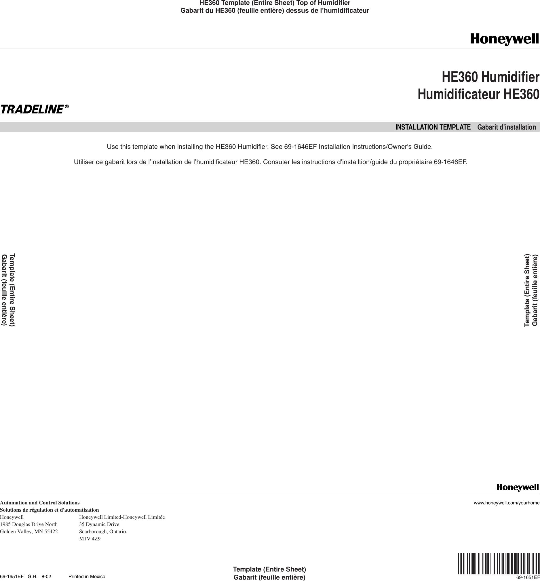 Honeywell He360 Installation Information 69 1651
