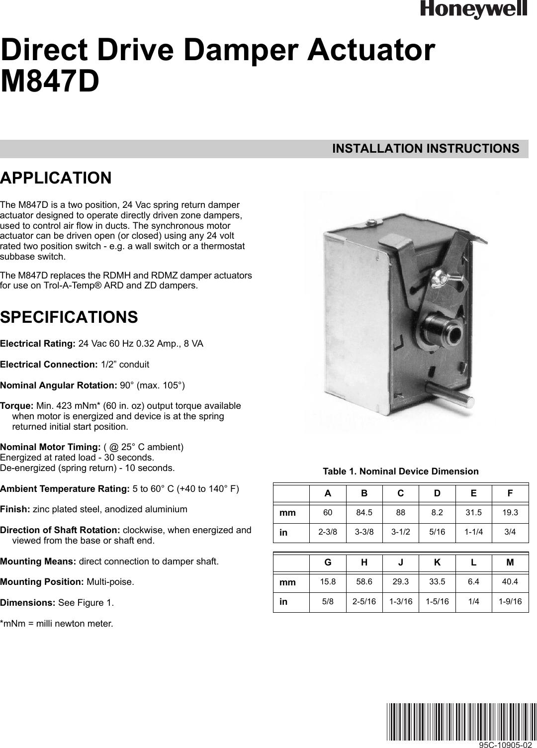 honeywell automobile parts m847d users manual 95c 10905 a direct rh usermanual wiki Honeywell Pro 8000 Thermostat Manual Honeywell Thermostat Operating Manual