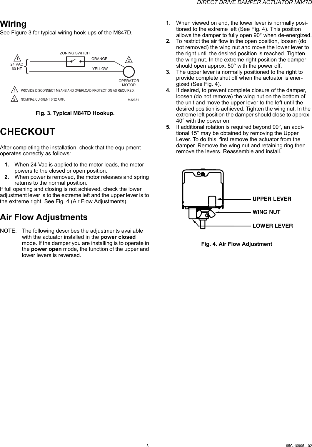 Honeywell Automobile Parts M847D Users Manual 95C 10905_A