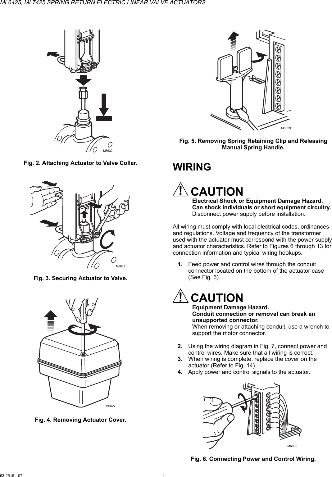 Honeywell Automobile Parts Ml6425 Users Manual 63 251607 Actuator Wiring Diagram Page 4 Of 8