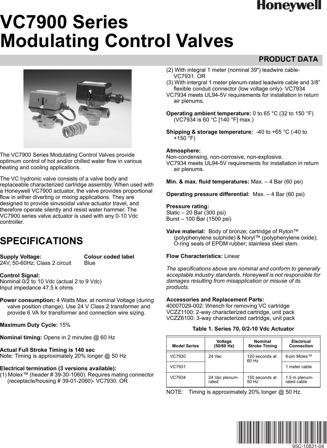 honeywell automobile parts vc7900 users manual 95c 10831 a series rh usermanual wiki Honeywell Pro 8000 Thermostat Manual Honeywell Pro 8000 Thermostat Manual