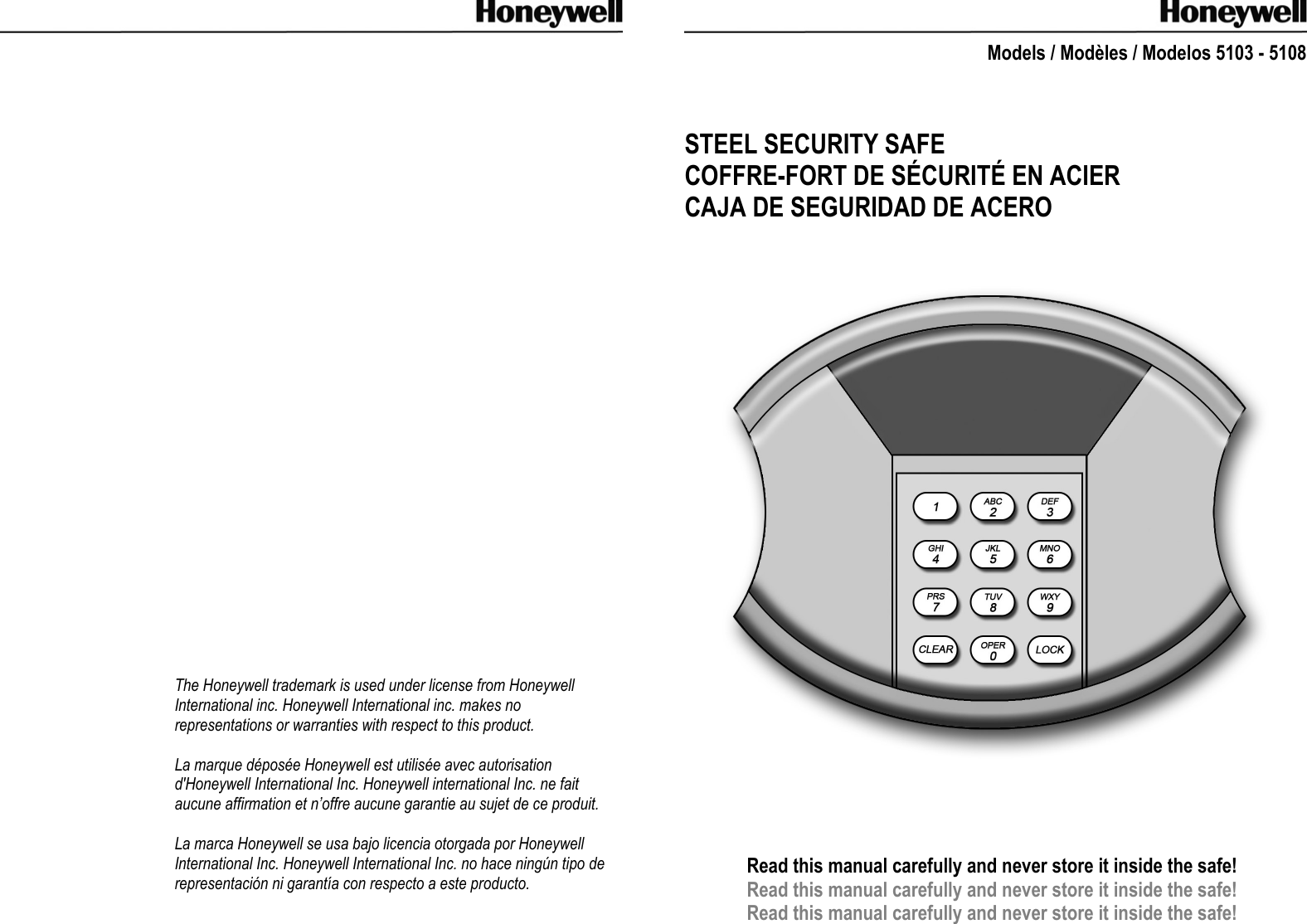 Honeywell Home Security System 5103 Users Manual 5108 Safe Owners