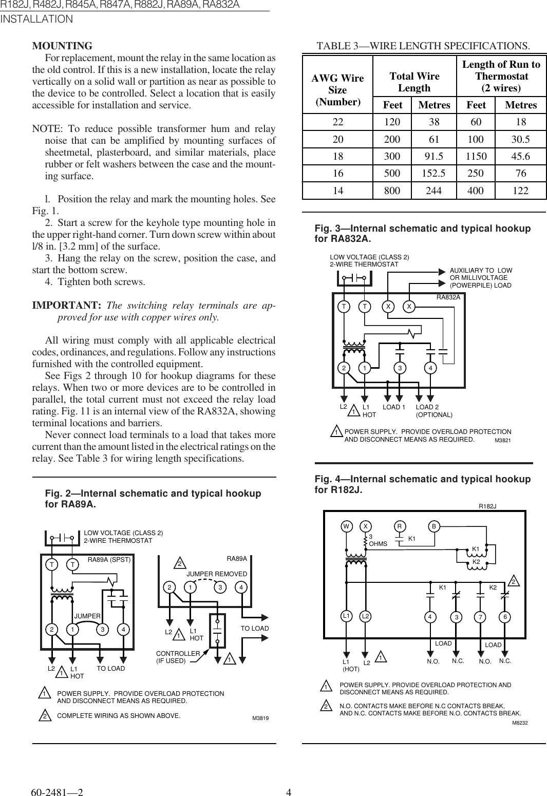 Honeywell Switch R182j Users Manual 60 2481 R482j R845a Wiring Diagram Page 4 Of 6
