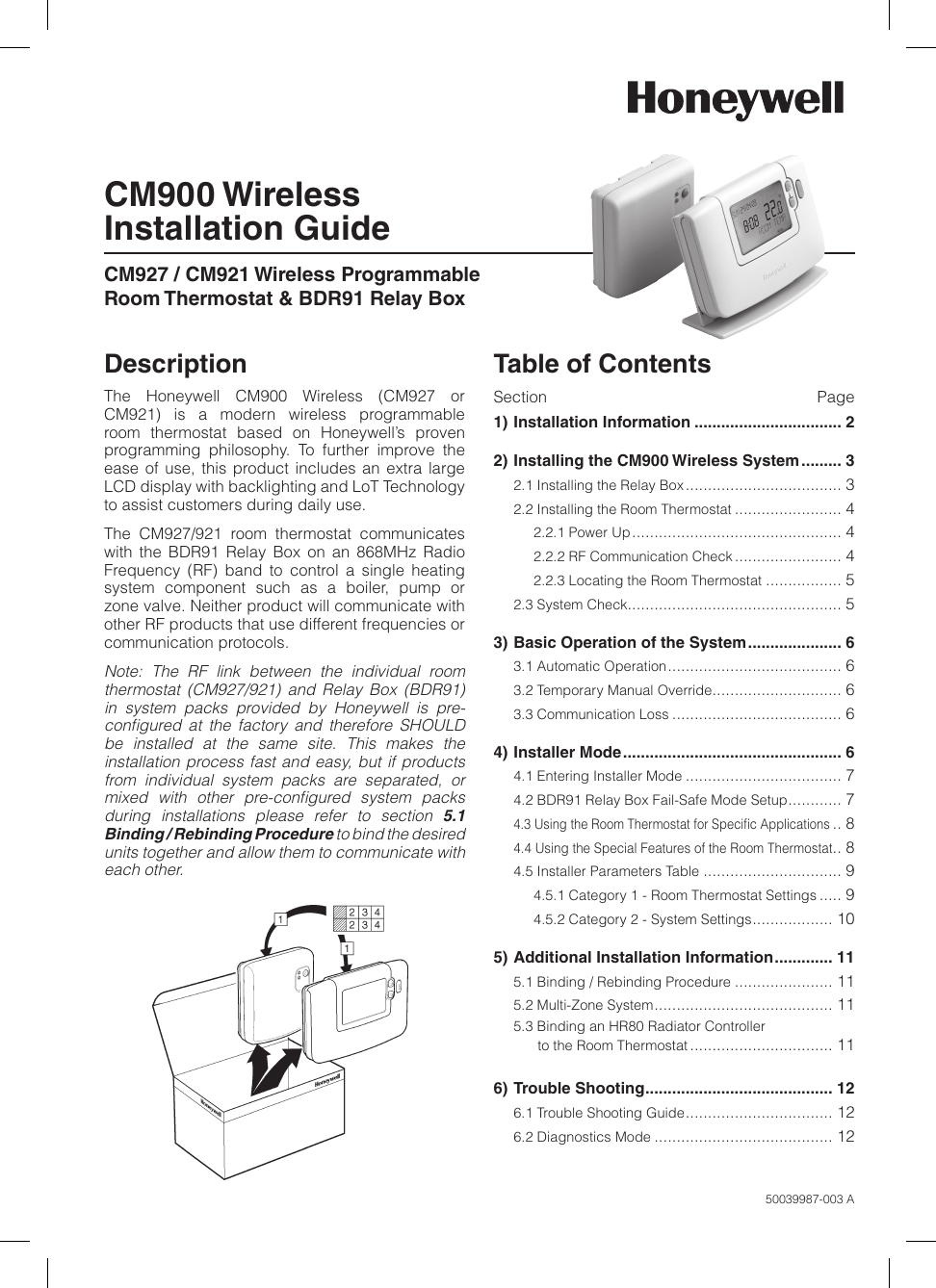 Honeywell Thermostat Cm900 Users Manual Instructions Guide Example 2018 Page 1 Of 12